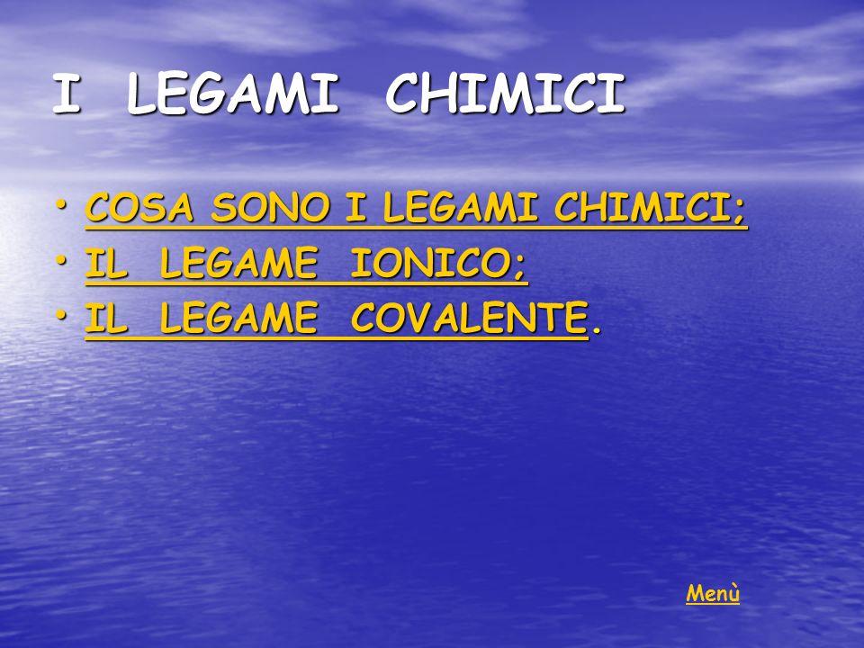 I LEGAMI CHIMICI COSA SONO I LEGAMI CHIMICI; IL LEGAME IONICO;