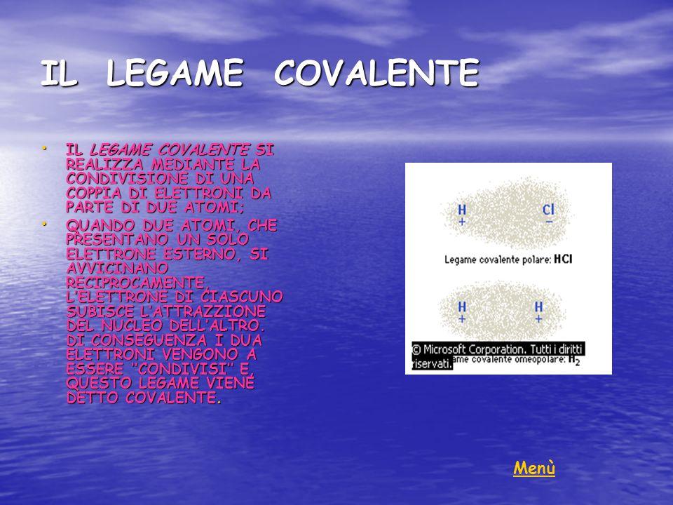 IL LEGAME COVALENTE Menù