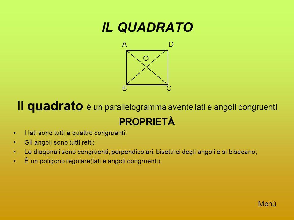 Il quadrato è un parallelogramma avente lati e angoli congruenti