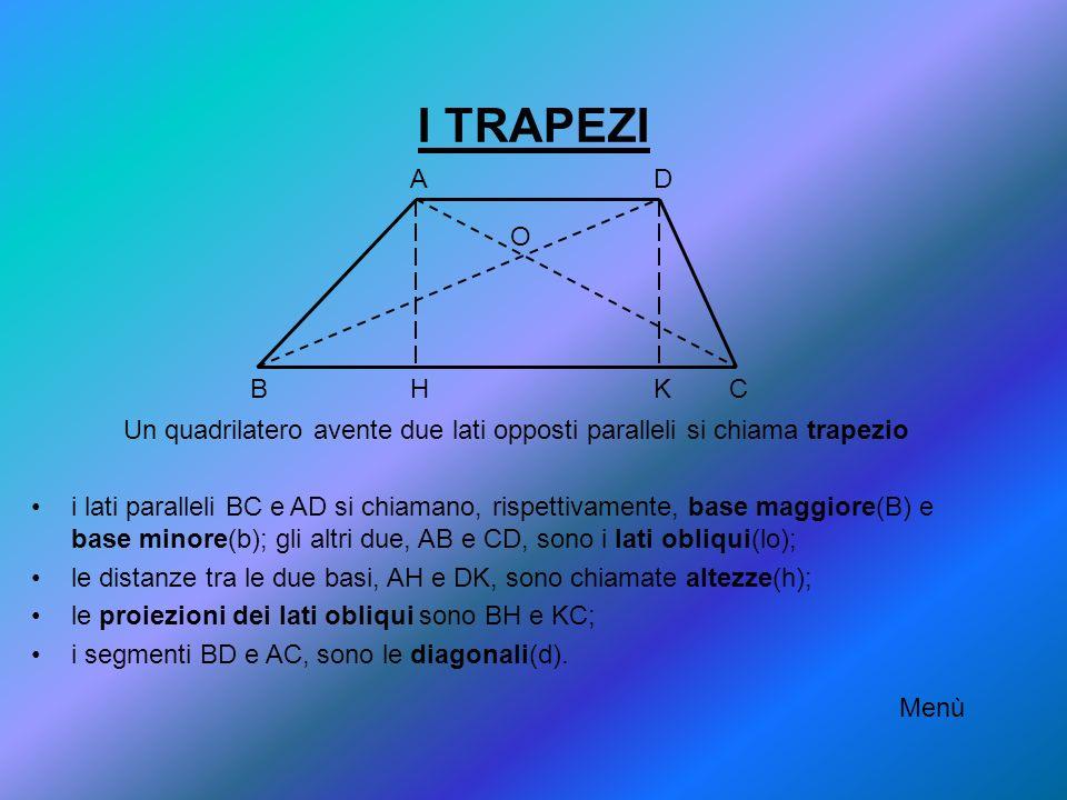 Un quadrilatero avente due lati opposti paralleli si chiama trapezio