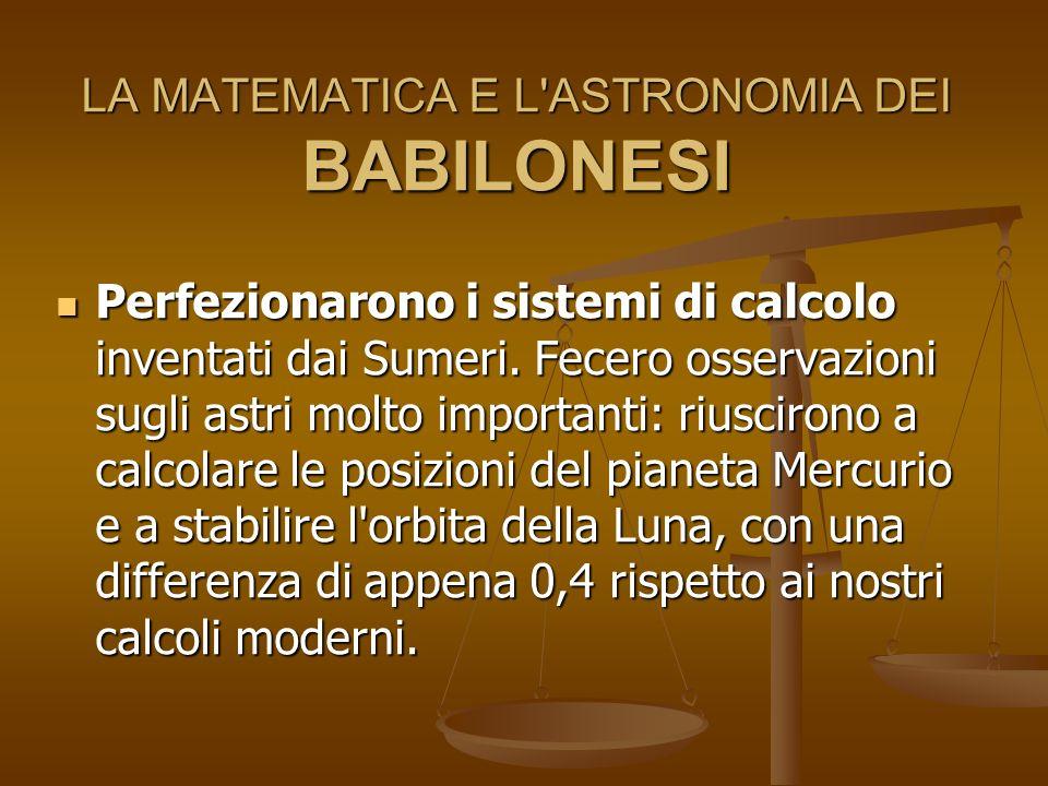 LA MATEMATICA E L ASTRONOMIA DEI BABILONESI