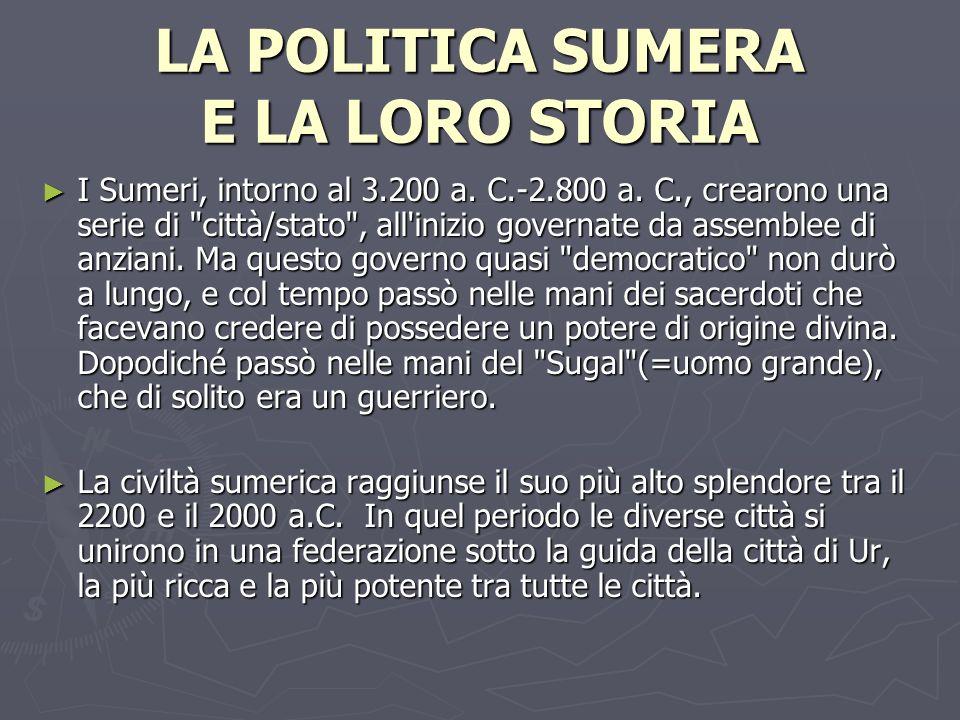 LA POLITICA SUMERA E LA LORO STORIA