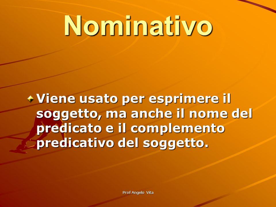 Nominativo Viene usato per esprimere il soggetto, ma anche il nome del predicato e il complemento predicativo del soggetto.