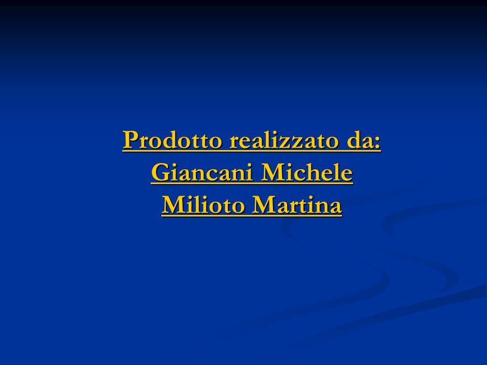 Prodotto realizzato da: Giancani Michele Milioto Martina