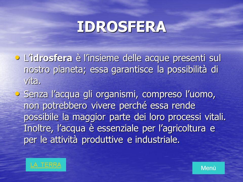 IDROSFERA L'idrosfera è l'insieme delle acque presenti sul nostro pianeta; essa garantisce la possibilità di vita.