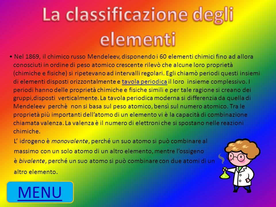 La classificazione degli elementi