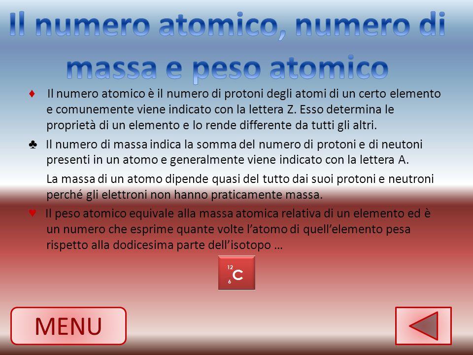 Il numero atomico, numero di massa e peso atomico