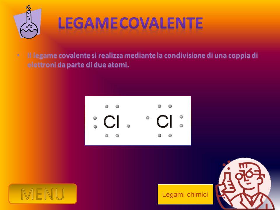Legame Covalente Il legame covalente si realizza mediante la condivisione di una coppia di elettroni da parte di due atomi.