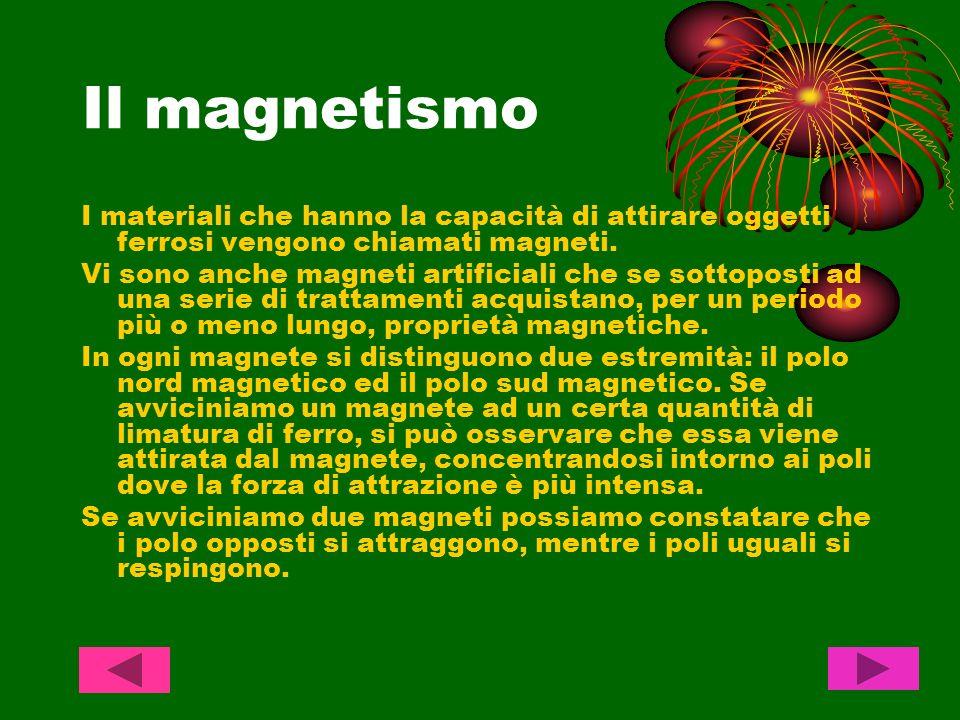 Il magnetismo I materiali che hanno la capacità di attirare oggetti ferrosi vengono chiamati magneti.
