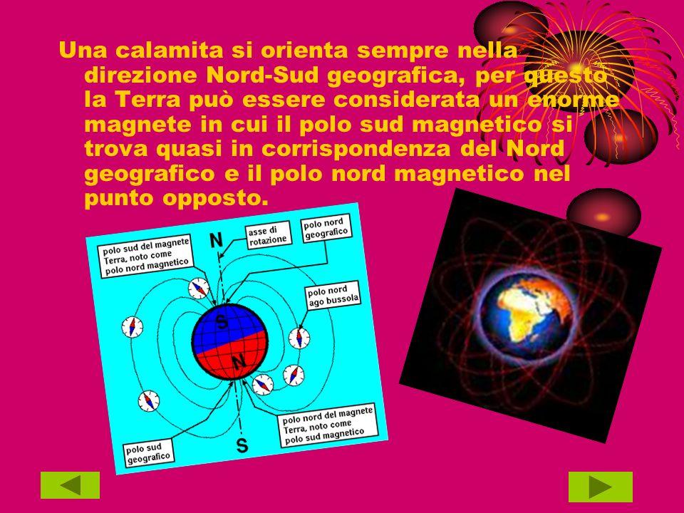 Una calamita si orienta sempre nella direzione Nord-Sud geografica, per questo la Terra può essere considerata un enorme magnete in cui il polo sud magnetico si trova quasi in corrispondenza del Nord geografico e il polo nord magnetico nel punto opposto.