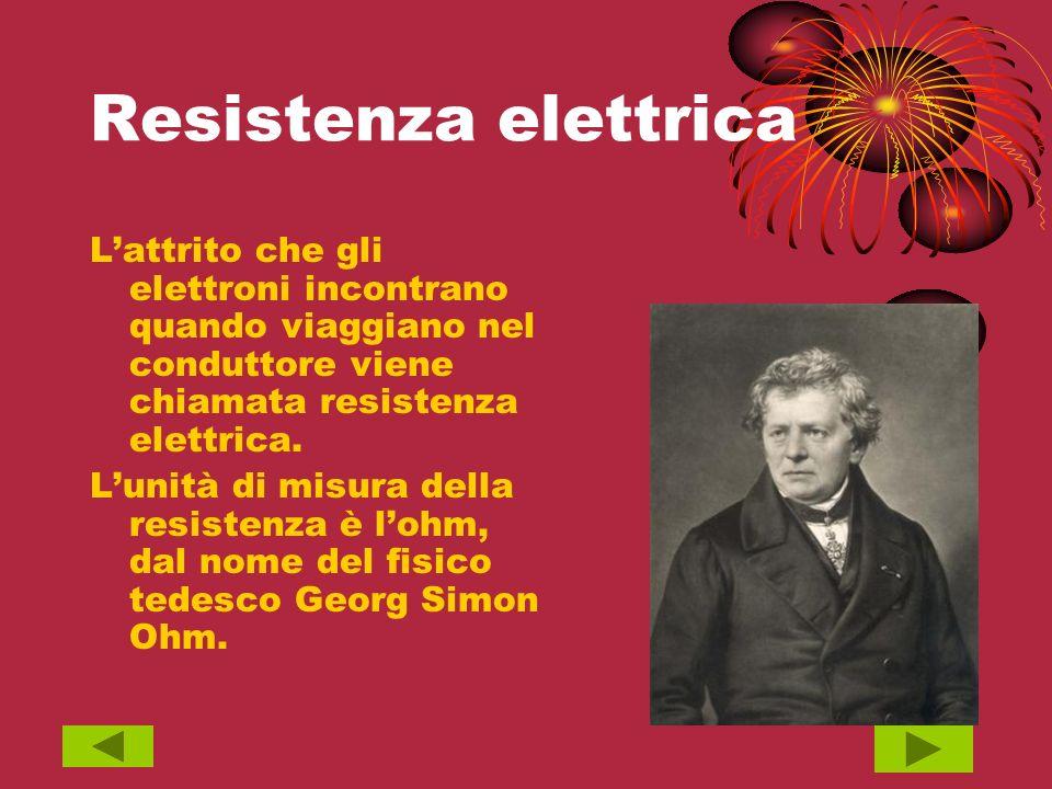 Resistenza elettrica L'attrito che gli elettroni incontrano quando viaggiano nel conduttore viene chiamata resistenza elettrica.