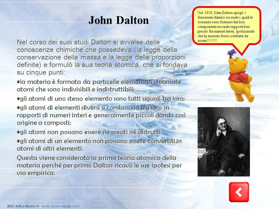 Nel 1808, John Dalton spiegò i fenomeni chimici secondo i quali le sostanze sono formate dai loro componenti secondo rapporti ben precisi fra numeri interi, ipotizzando che la materia fosse costituita da atomi!!!!!!!!!