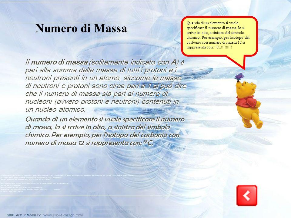 Quando di un elemento si vuole specificare il numero di massa, lo si scrive in alto, a sinistra del simbolo chimico. Per esempio, per l isotopo del carbonio con numero di massa 12 si rappresenta con: 12C..!!!!!!!!!