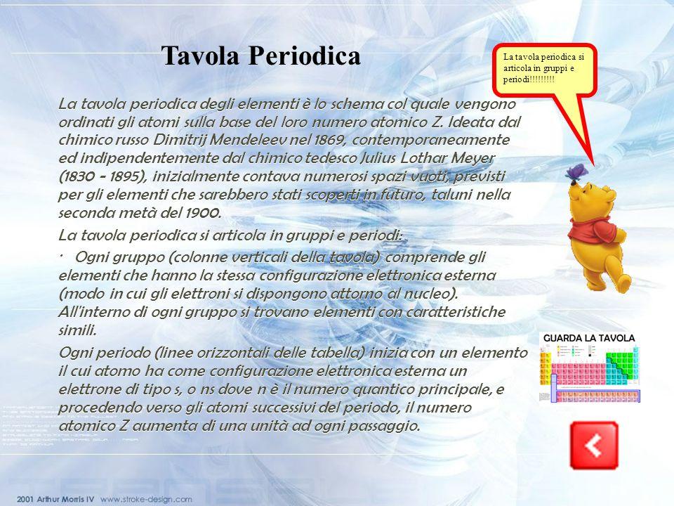 Tavola Periodica La tavola periodica si articola in gruppi e periodi!!!!!!!!!
