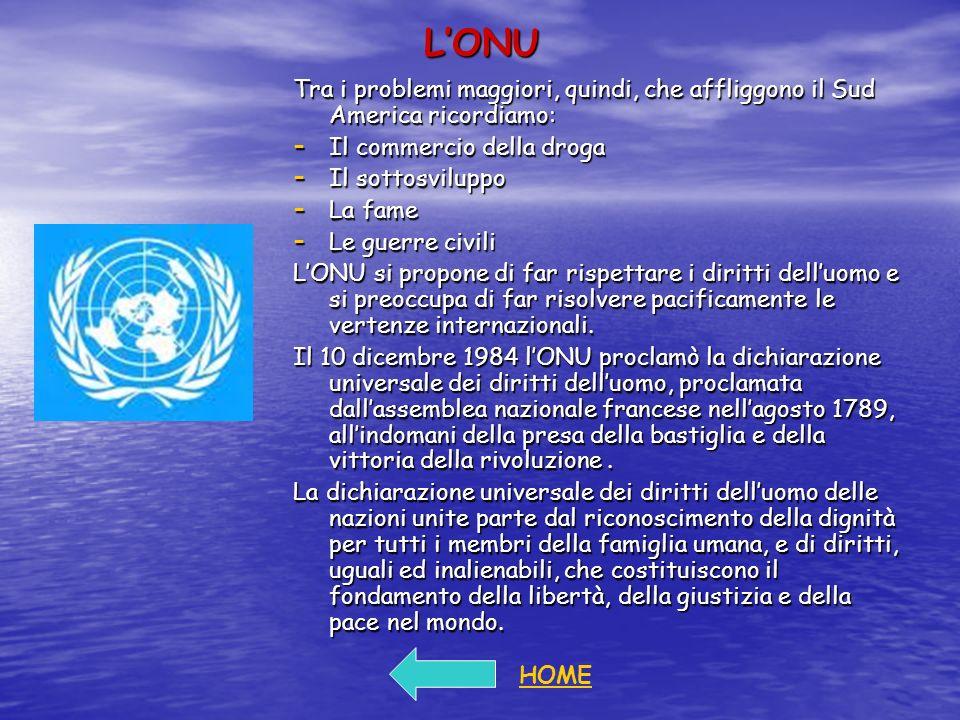 L'ONU Tra i problemi maggiori, quindi, che affliggono il Sud America ricordiamo: Il commercio della droga.
