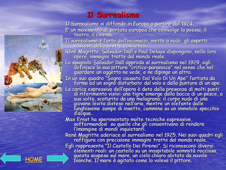 Il Surrealismo Il Surrealismo si diffonde in Europa a partire dal 1924.