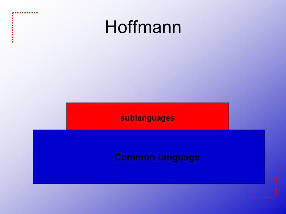 Hoffmann sublanguages Common language