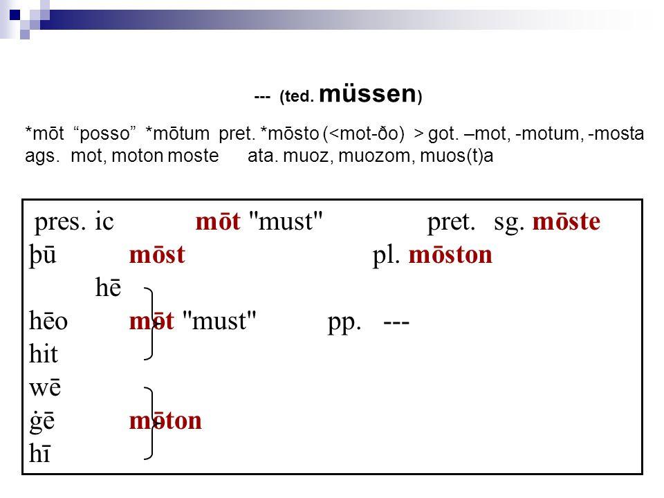þū mōst pl. mōston hē hēo mōt must pp. --- hit wē ġē mōton hī