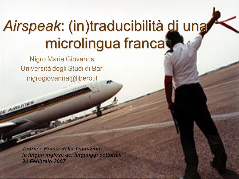 Airspeak: (in)traducibilità di una microlingua franca