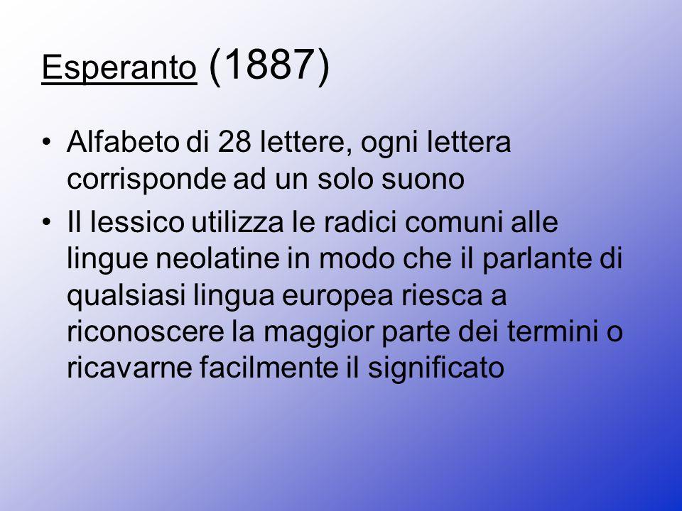 Esperanto (1887) Alfabeto di 28 lettere, ogni lettera corrisponde ad un solo suono.
