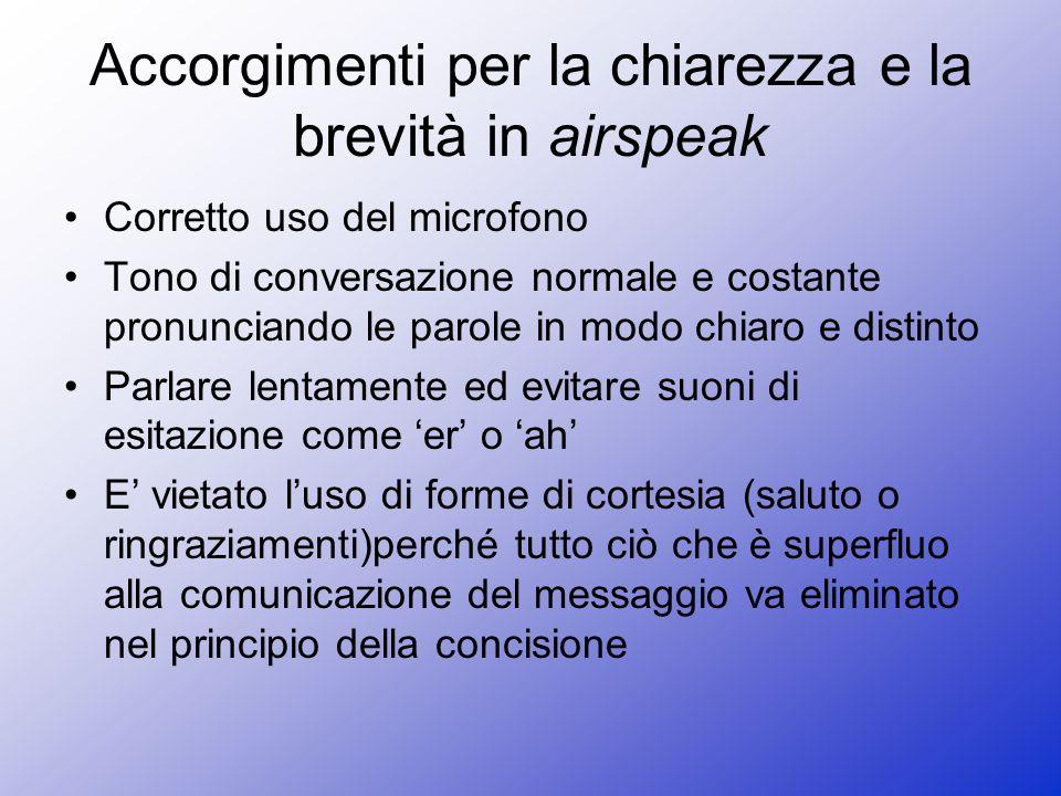 Accorgimenti per la chiarezza e la brevità in airspeak