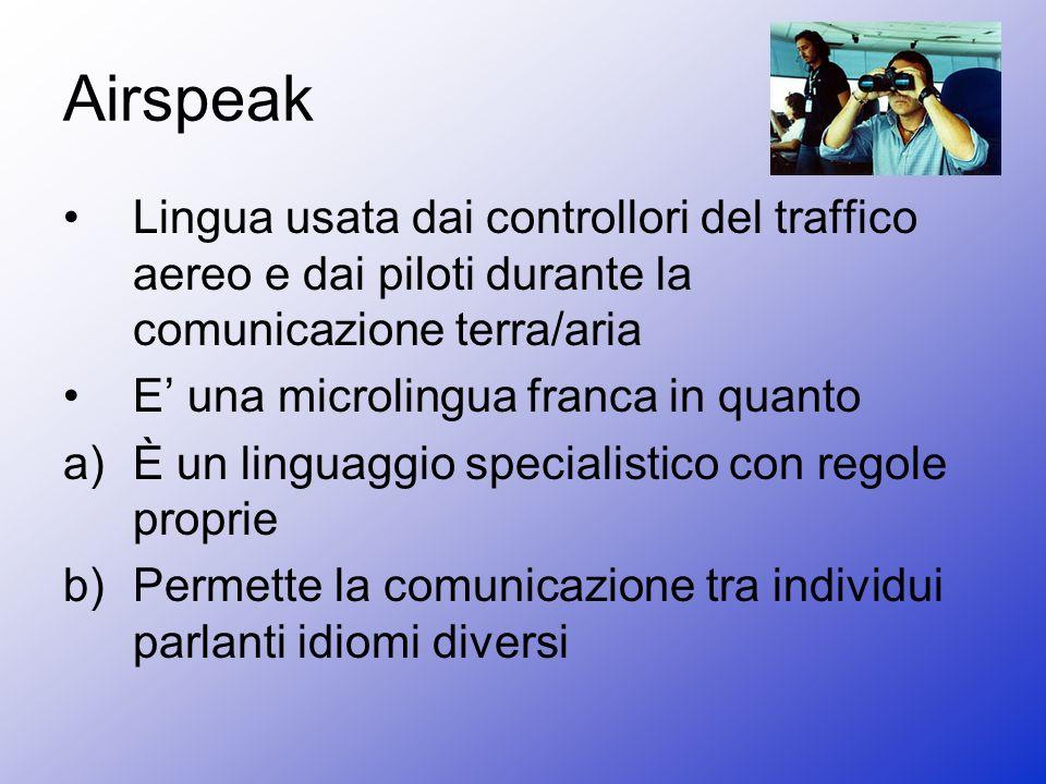 Airspeak Lingua usata dai controllori del traffico aereo e dai piloti durante la comunicazione terra/aria.