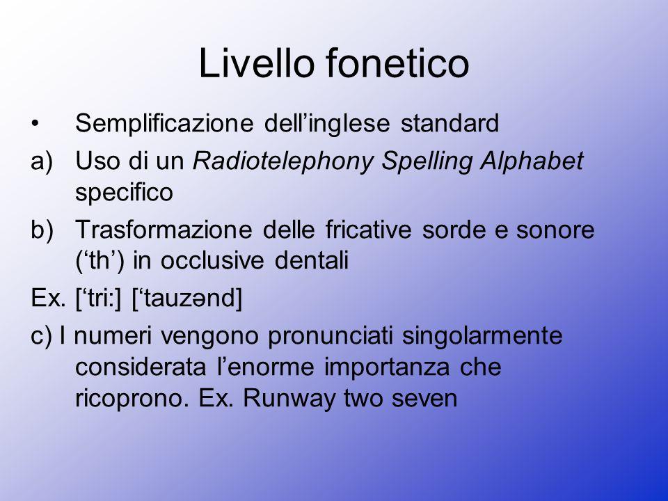 Livello fonetico Semplificazione dell'inglese standard