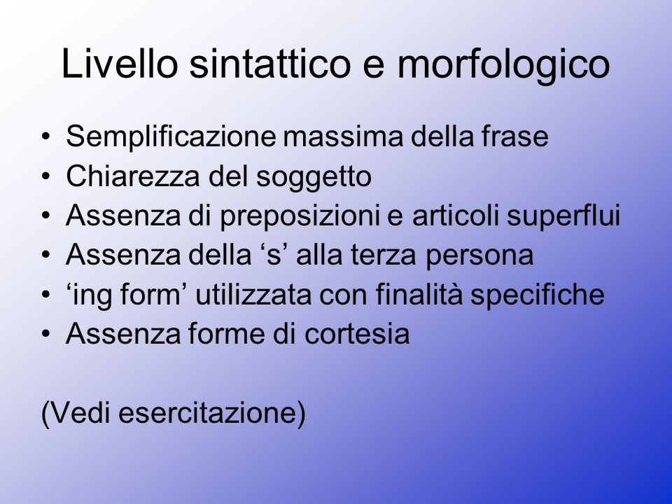 Livello sintattico e morfologico