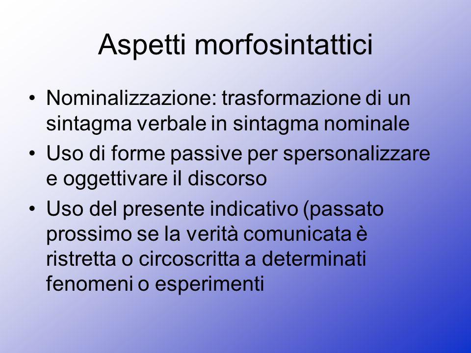 Aspetti morfosintattici