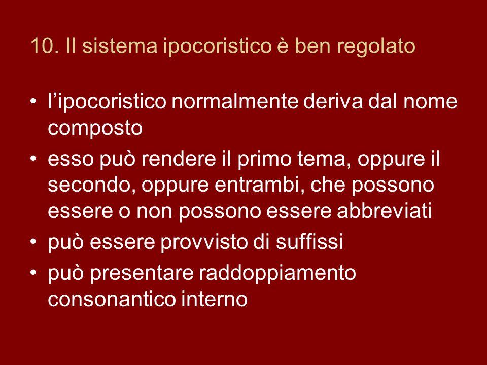 10. Il sistema ipocoristico è ben regolato