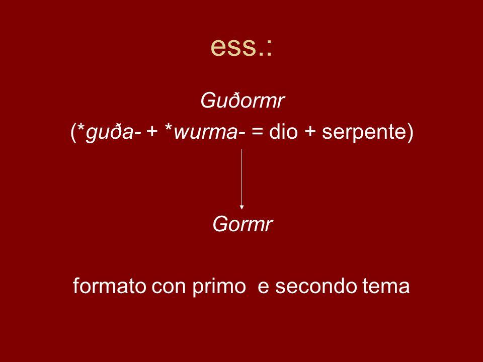 ess.: Guðormr (*guða- + *wurma- = dio + serpente) Gormr