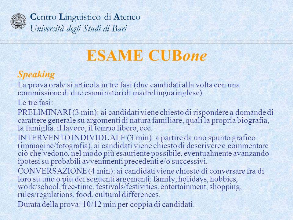 Centro Linguistico di Ateneo Università degli Studi di Bari