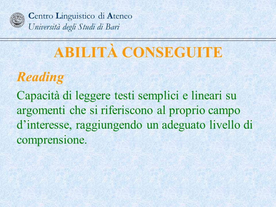 ABILITÀ CONSEGUITE Reading