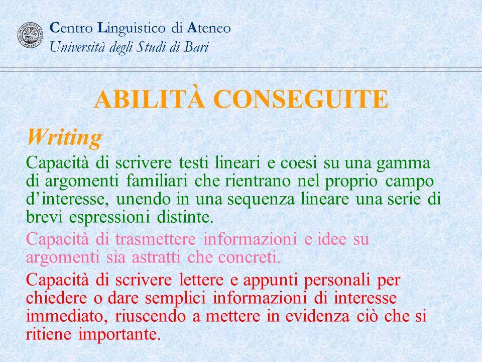 ABILITÀ CONSEGUITE Writing