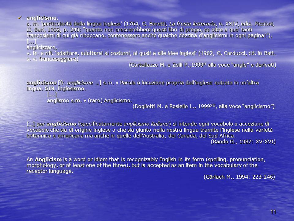 anglicismo, s. m. 'particolarità della lingua inglese' (1764, G