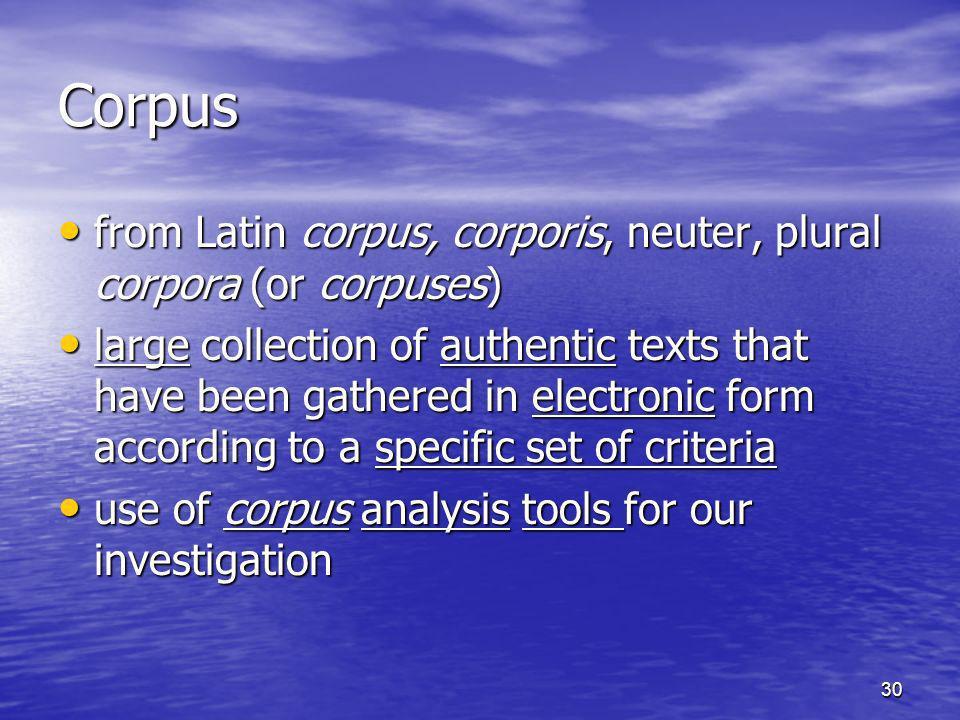 Corpus from Latin corpus, corporis, neuter, plural corpora (or corpuses)