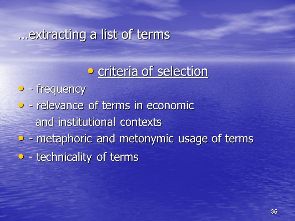 …extracting a list of terms