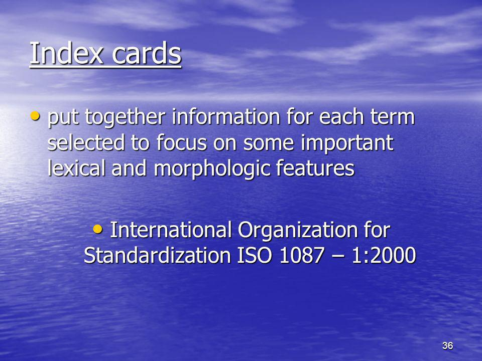 International Organization for Standardization ISO 1087 – 1:2000