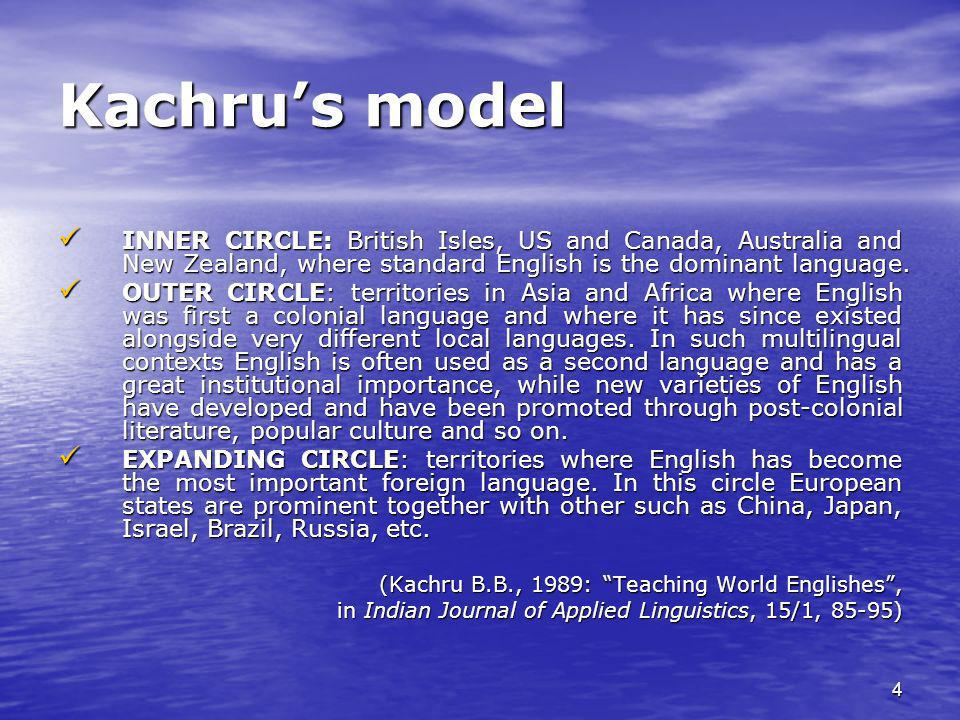 Kachru's model INNER CIRCLE: British Isles, US and Canada, Australia and New Zealand, where standard English is the dominant language.