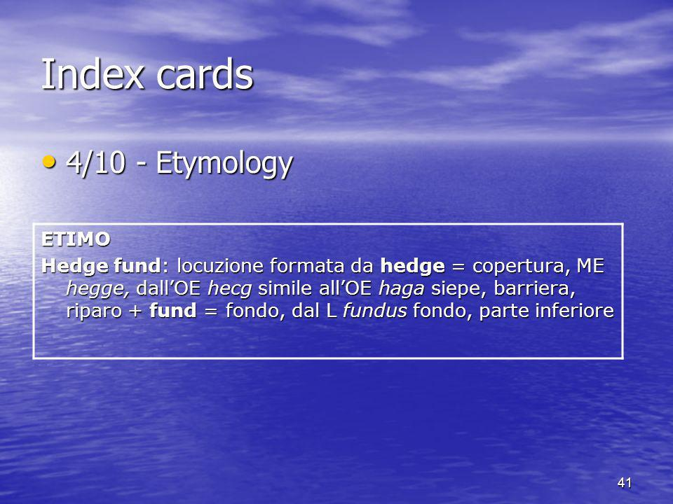 Index cards 4/10 - Etymology ETIMO