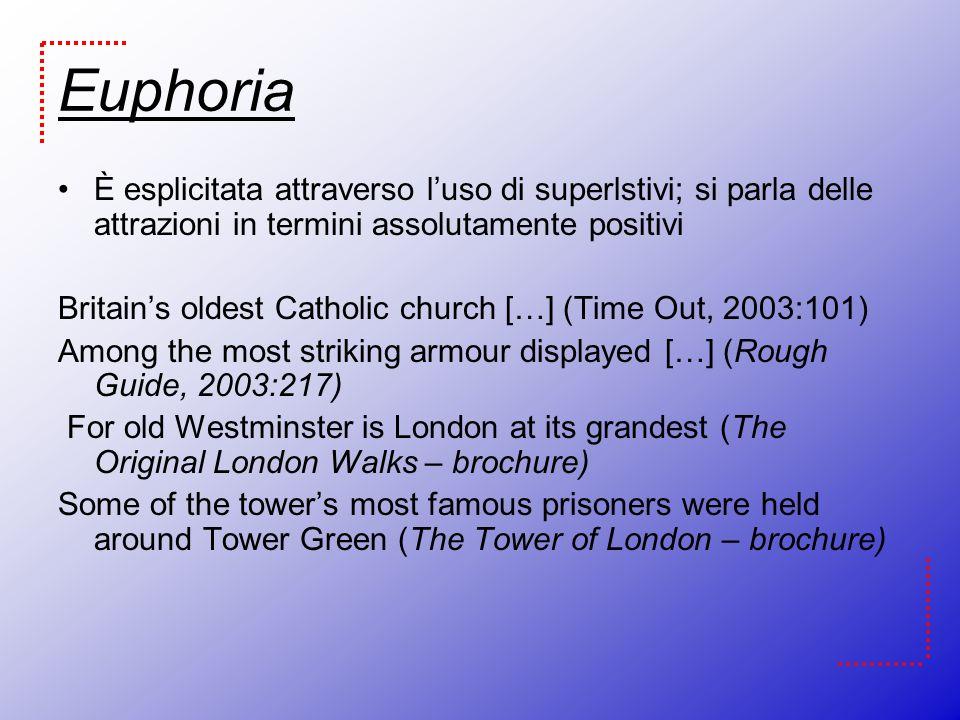 Euphoria È esplicitata attraverso l'uso di superlstivi; si parla delle attrazioni in termini assolutamente positivi.