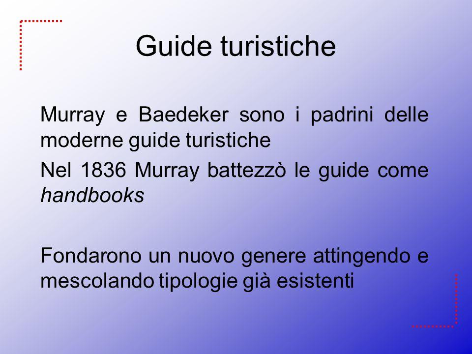 Guide turistiche Murray e Baedeker sono i padrini delle moderne guide turistiche. Nel 1836 Murray battezzò le guide come handbooks.
