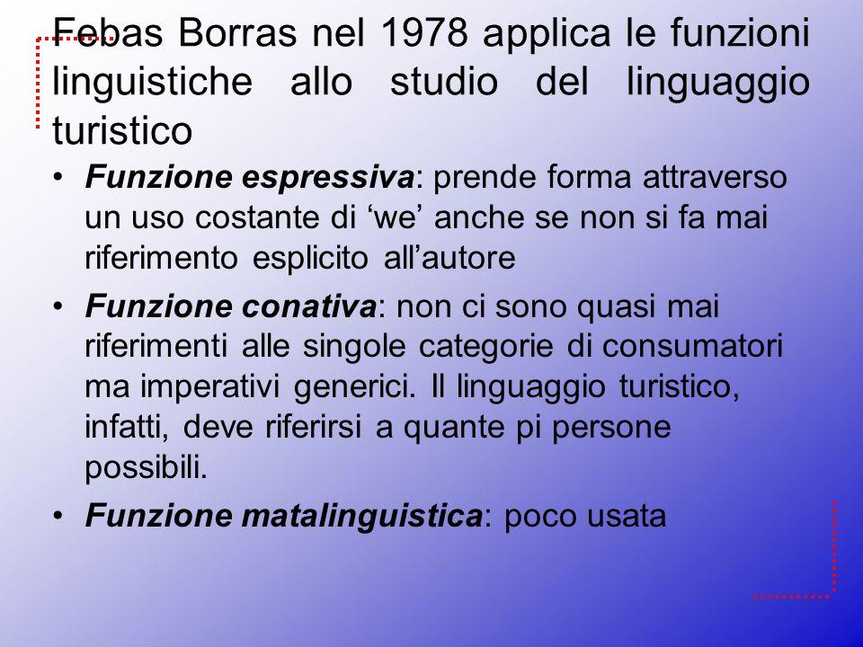 Febas Borras nel 1978 applica le funzioni linguistiche allo studio del linguaggio turistico