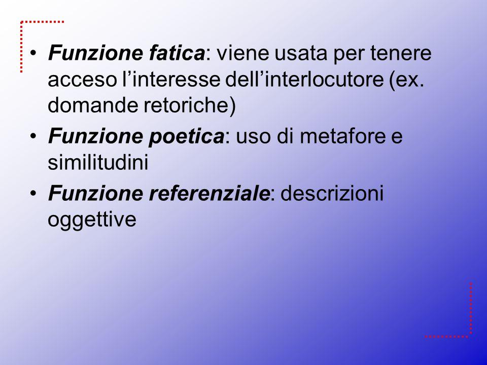 Funzione fatica: viene usata per tenere acceso l'interesse dell'interlocutore (ex. domande retoriche)
