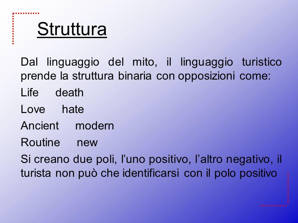 Struttura Dal linguaggio del mito, il linguaggio turistico prende la struttura binaria con opposizioni come: