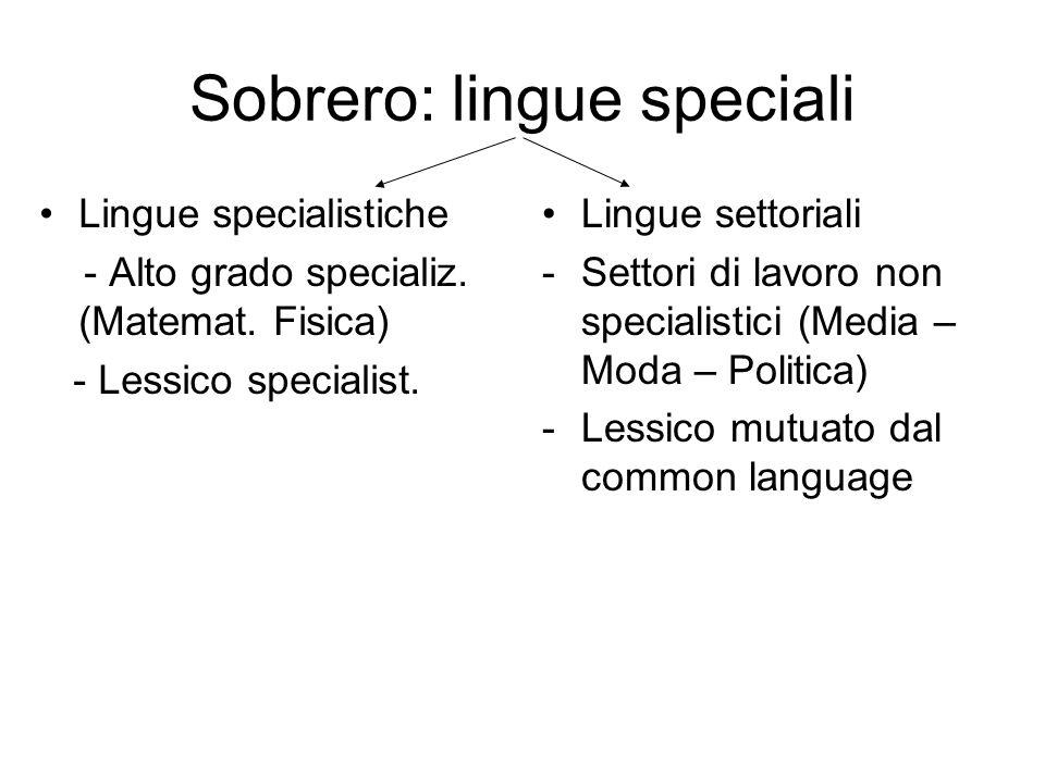 Sobrero: lingue speciali