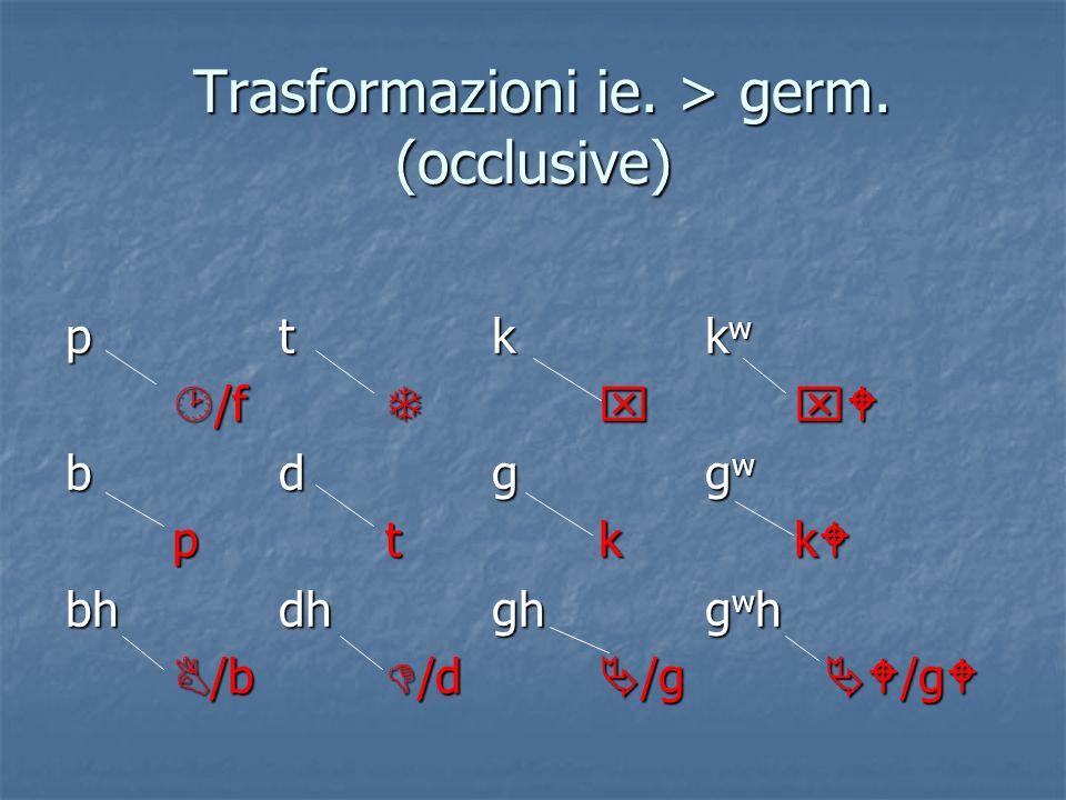 Trasformazioni ie. > germ. (occlusive)