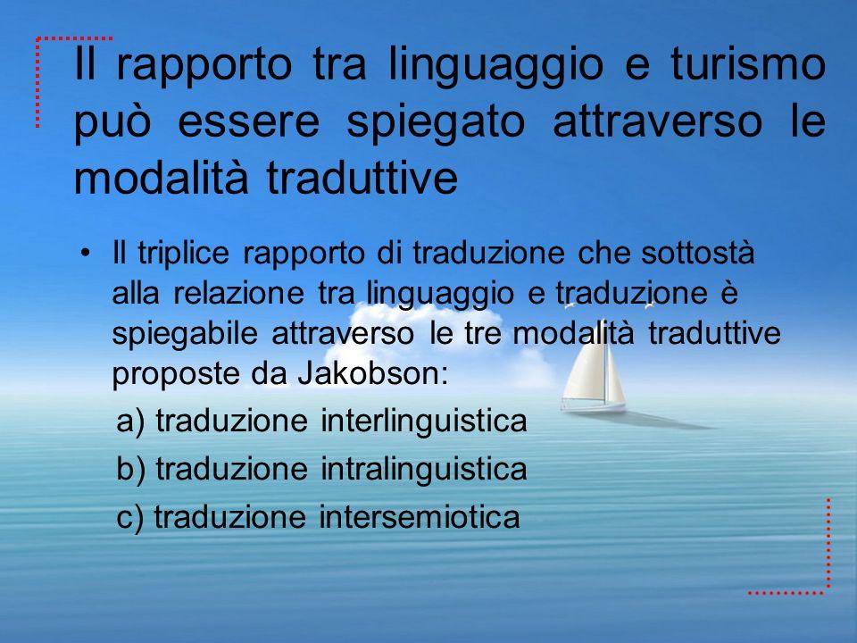 Il rapporto tra linguaggio e turismo può essere spiegato attraverso le modalità traduttive