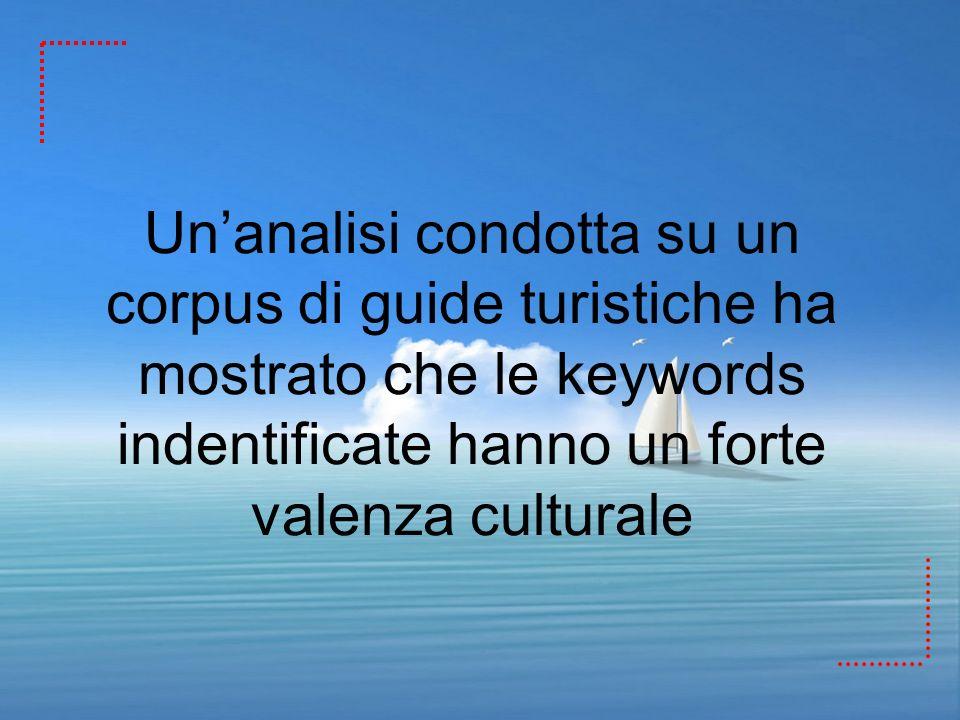 Un'analisi condotta su un corpus di guide turistiche ha mostrato che le keywords indentificate hanno un forte valenza culturale
