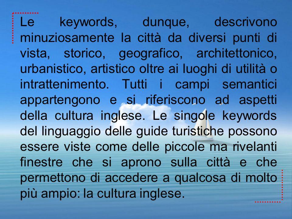 Le keywords, dunque, descrivono minuziosamente la città da diversi punti di vista, storico, geografico, architettonico, urbanistico, artistico oltre ai luoghi di utilità o intrattenimento.